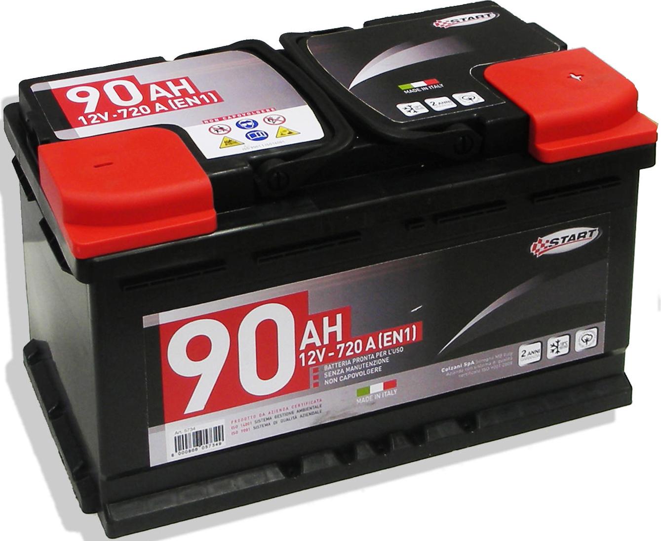 Batteria Auto 90AH 12V 720A polo positivo destro Cassetta L4 START